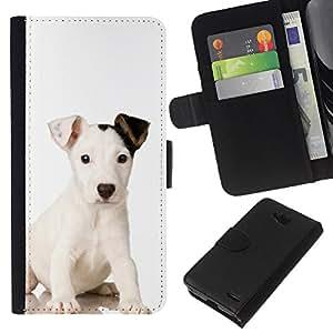 eJoy---La carpeta del tirón la caja de cuero de alta calidad de la PU Caso protector - LG OPTIMUS L90 - --Mutt Baby Mongrel Puppy Dog