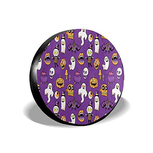 MichelleSmithred Halloween Decor Spooky Skull, Zombie, Bat, Pumpkin Spare Tire Cover Waterproof Dust-Proof(Fit 14 15 16 17 Inches) ()