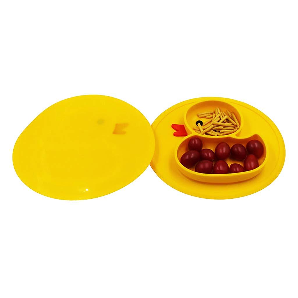 Tubicu Nfants Cute Duck Duck Silicone Alimentation Plateau Plateau Alimentaire pour B/éb/é Enfant Bol Cuill/ère