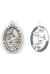 """Basketball Oval Sterling Silver Women or Girls St. Sebastian Sport Medals, Patron Saint of Athletes with 18"""" Chain"""