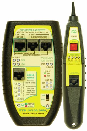 Triplett Byte Brothers Network LAN Cable Tester RJ45 CAT5 CAT6 Base-T with Tone Generator and Probe - Get Instant Answers to a LAN Device's Most Critical Questions - (TVR10/100/1000K)