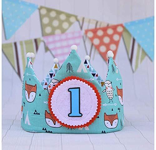 Corona cumpleaños de tela reversible para fiesta infantil ...