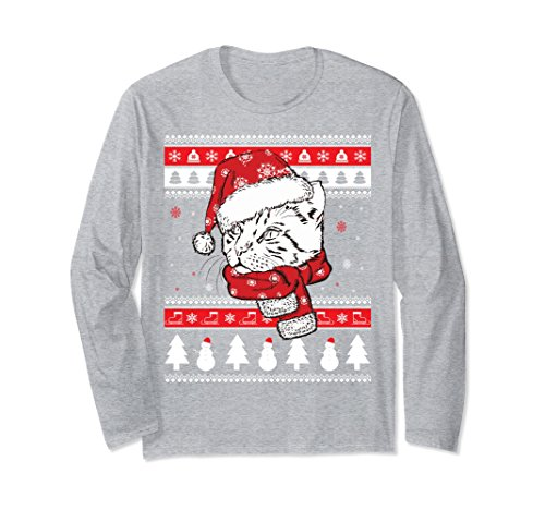 Unisex Funny Bengal Cat Ugly Christmas Long Sleeve T-Shirt Small Heather Grey