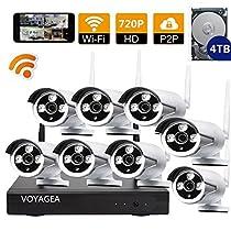 VOYAGEA 8CH 720P NVR Night Vision IP Surveillance Camera Kit 4TB HDD Wireless Home Surveillance Security Camera System,8 pcs 1.0MP Night Vision720P Security IP Cameras A15