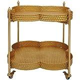 Creative Co Op Metal Clover Shape Bar Cart, Gold