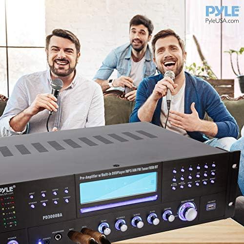 4 Channel Wireless Bluetooth Amplifier – 3000 Watt Stereo Speaker Home Audio Receiver w/ FM Radio, USB, 2 Microphone w/ Echo for Karaoke, Front Loading CD DVD Player, LED, Rack Mount – Pyle PD3000BA 51jNhawIBPL