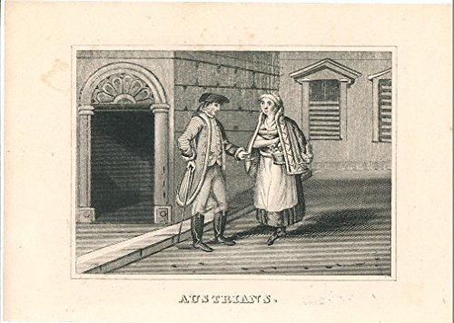 [Austrian natives in traditional costume 1841 charming Miniature engraving print] (Postage Stamp Costume)
