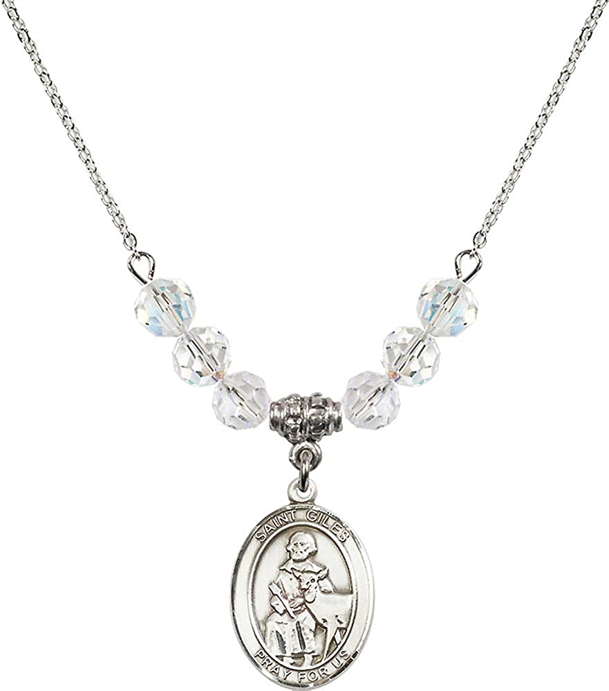 18-Inch Rhodium Plated Necklace with 6mm Crystal Birthstone Beads and Sterling Silver Saint Giles Charm.