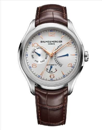 Baume-and-Mercier-Clifton-Silver-Dial-Brown-Leather-Mens-Watch-MOA10149