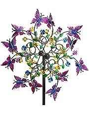 Unieke en magische metalen windmolen, kinetische metalen windspinners met metalen tuinspel, 3D windaangedreven kinetische sculptuur, windvangers buiten terras tuin decoratie (20 * 170 cm, bloem)