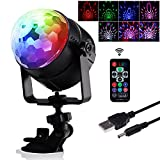 AVAWAY Wireless Sound Activated Party Lights, USB Rechargeable RGB Disco Ball with Remote for Party Home Dance DJ Bar Karaoke Xmas Wedding Club - Black