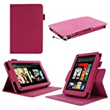 "rooCASE Amazon Kindle Fire 7 Case - (2011 Non-HD Previous Generation) Dual View Multi Angle Tablet 7-Inch 7"" Stand Cover - MAGENTA"
