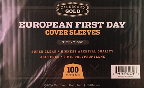 100 CBG European First Day Cover Sleeves - Archival Quality Protection for Your first day issue stamp collection