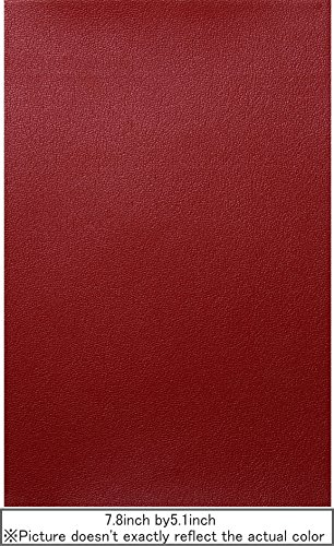 Adhesive Artificial Leather Sheet 7.8inch by 5.1inch (Red)