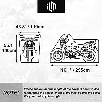 ILM Motorcycle Cover Heavy Duty 210D Oxford Waterproof XXXL Fit for Harleys Davidson Honda Suzuki (210D, Black): Automotive