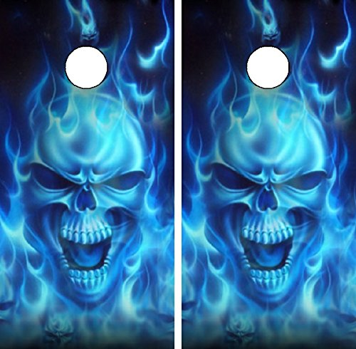 Avery C15 Flaming Skull Cornhole Laminated Decal WRAP Set Decals Board Boards Vinyl Sticker Stickers Bean Bag Game Wraps Vinyl Graphic Tint Image Corn -
