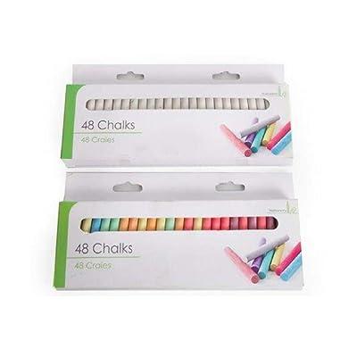 48pk Of Chalk - Sidewalk Chalk -White/Coloured (White): Office Products