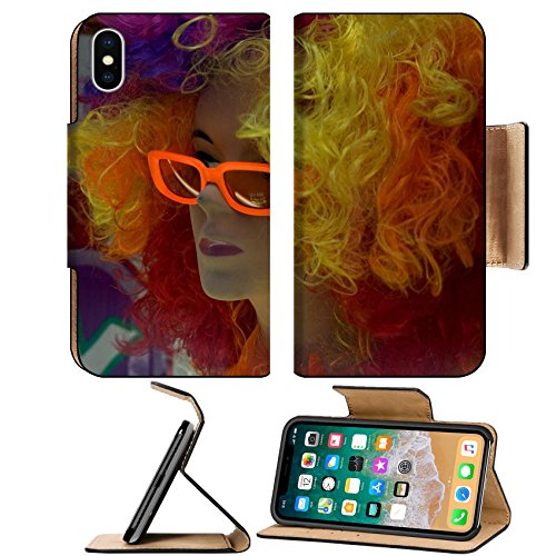 Luxlady Premium Apple iPhone X Flip Pu Leather Wallet Case IMAGE ID 399227 mannequin with colored hair and - Sides Colored Sunglasses With
