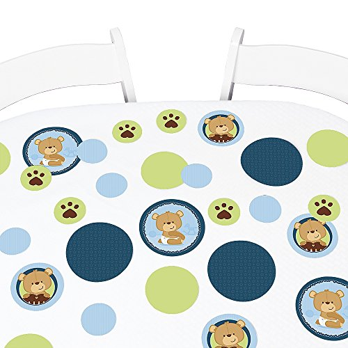 Big Dot of Happiness Baby Boy Teddy Bear - Baby Shower Giant Circle Confetti - Party Decorations - Large Confetti 27 - Bear Confetti