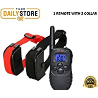 YourDailyStore 2 Dog Shock Training Collar Pet Trainer With Remote Waterproof 1000 Yard 4 Modes