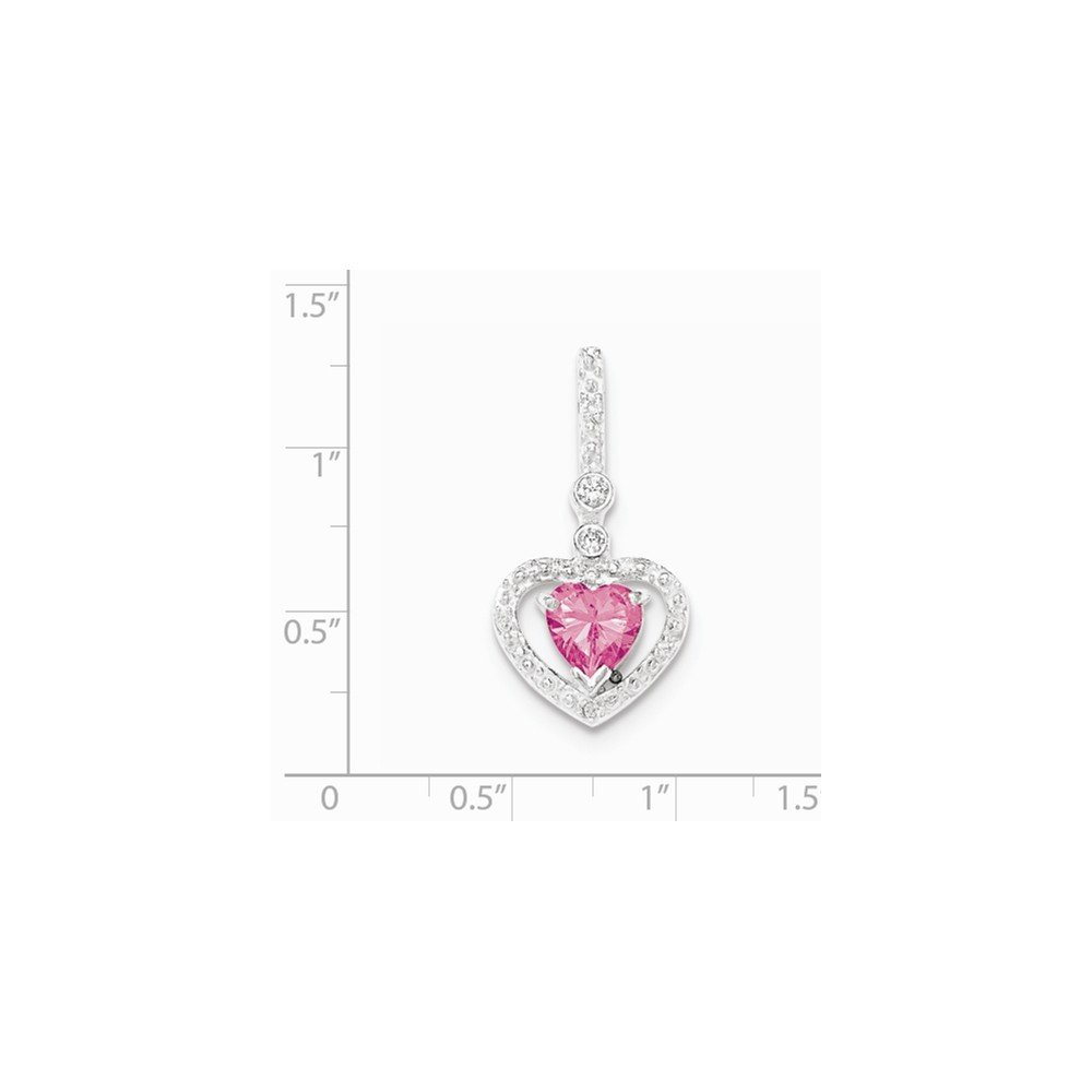 .925 Sterling Silver Pink and White CZ Heart Slide Charm Pendant