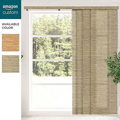 (CHICOLOGY Custom Cordless Sliding Panel Track Blind,Garden Taupe Natural Woven,Outside Mount.84 W X 96