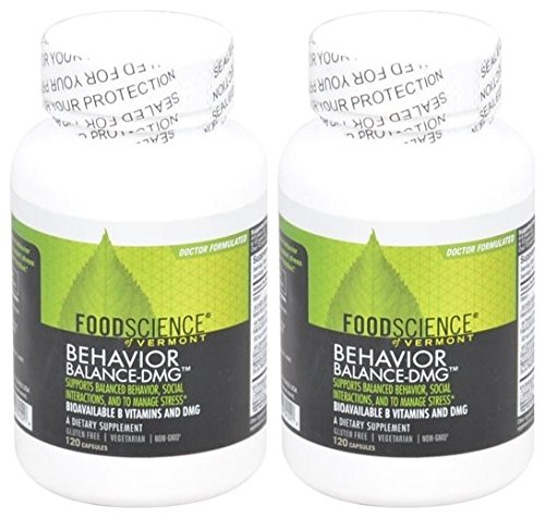 Foodscience of Vermont Behavior Balance DMG (Pack of 2) Supports Balanced Behavior, Social Interactions, and to Manage Stress, Bioavailable B Vitamins and DMG, Doctor Formulated, 120 Capsule Each