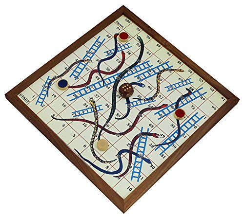 SKAVIJ Wooden Handmade Snakes and Ladders with 4 Coins and Dice Travel Board Game (10.5 Inch x 10.5 Inch, Brown)