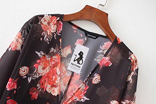 Donne Donna Copricostume Camicetta Kimono feiXIANG Estate da Copricostumi Spiaggia da Nero Up Sexy Size Mare Plus di Stampa floreale Cardigan Tops Cover parei Donna B e Elegante RxwATq