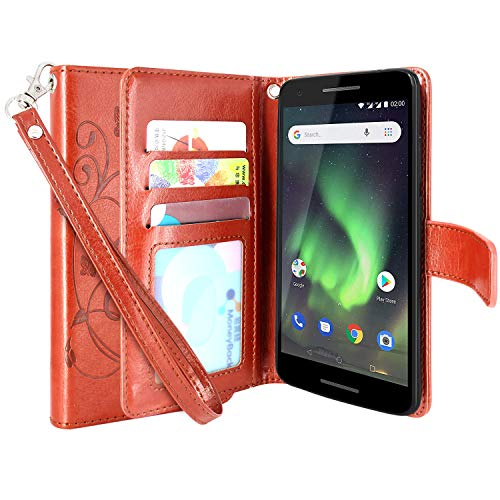 Nokia 2V (Verizon) Case,Lacass Floral Butterfly PU Leather Flip Wallet Case Cover Kickstand with Card Slots and Wrist Strap Compatible with Nokia 2.1 (2018) TA-1084 (Brown)
