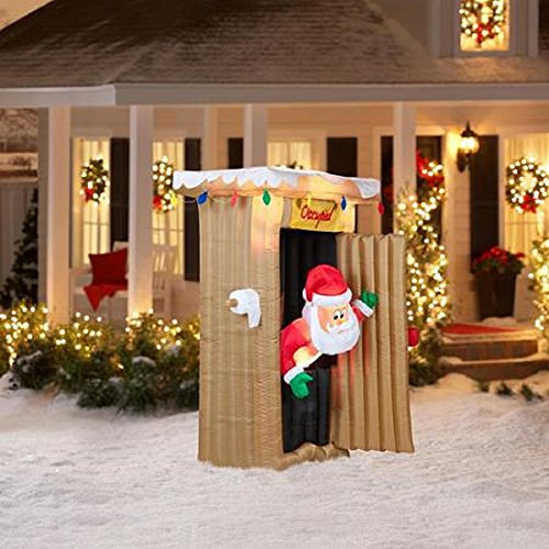 CHRISTMAS INFLATABLE 6 FT TALL ANIMATED LED LIGHTED OUTHOUSE SANTA OUTDOOR YARD PROP by Gemmy (Image #1)