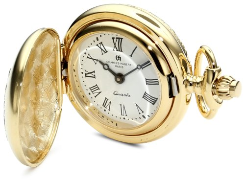 Charles-Hubert, Paris 6819 Classic Collection Two-Tone Finish Brass Quartz Pendant Pocket Watch