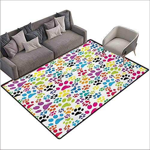 Outside The Door Rug Dog Colorful Little Paws Cute Steps Childish Artwork Cartoon Unusual Traces Design Super Absorbent mud W78 xL94 Purple Blue Green