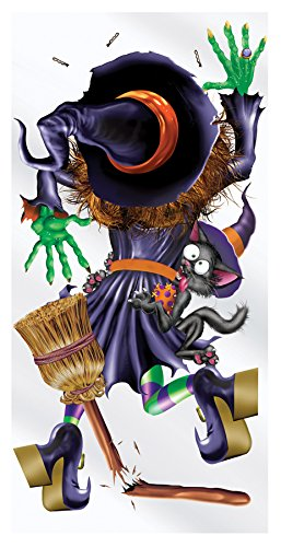 Witch Crashing Door Cover (UHC Crashing Witch Door Cover Horror Party Supplies Halloween Decoration)