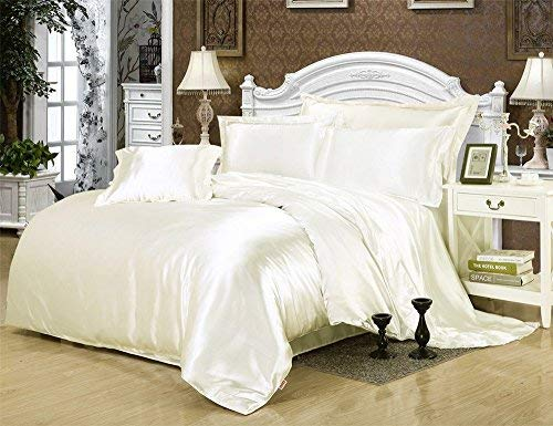 Roch Linen Luxury Solid Color 4-Piece Satin Bed Sheets Set-Silky Smooth, Super Soft, Wrinkle and Fade Resistant Satin Bedding Set Cal-King, Ivory