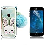iPhone 5S Cute Case, iPhone 5 SE Case, Bonice Cartoon Rabbit Bling Diamond Crystal Clear Soft Transparent TPU 3D Cute Ear Stand Silicone Case with Hairball Pompon Wristlet + Screen Protector - Green