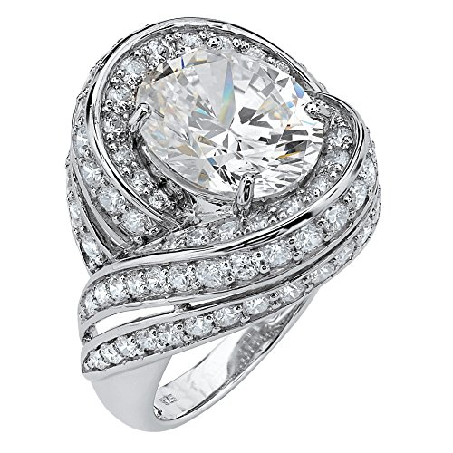 Swirl Cocktail Ring (Oval White Cubic Zirconia Platinum over .925 Sterling Silver Swirl Cocktail Ring Size 9)