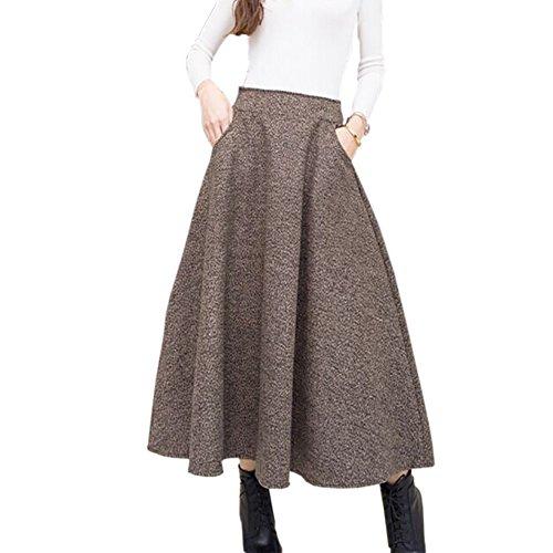 2017 2018 Woolen Autumn Winter Plus Size A Line Midi Wool Skirt Faldas Mujer Women High Waist Long Maxi Tutu Pleated Skirt
