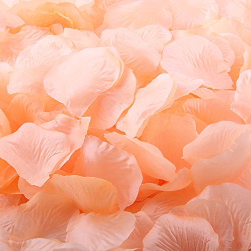 (LEFV™ 1000pcs Silk Rose Petals Artificial Flower Wedding Party Vase Decor Bridal Shower Favor Centerpieces Confetti Decorations (40 Colors for Choice)- Peach )
