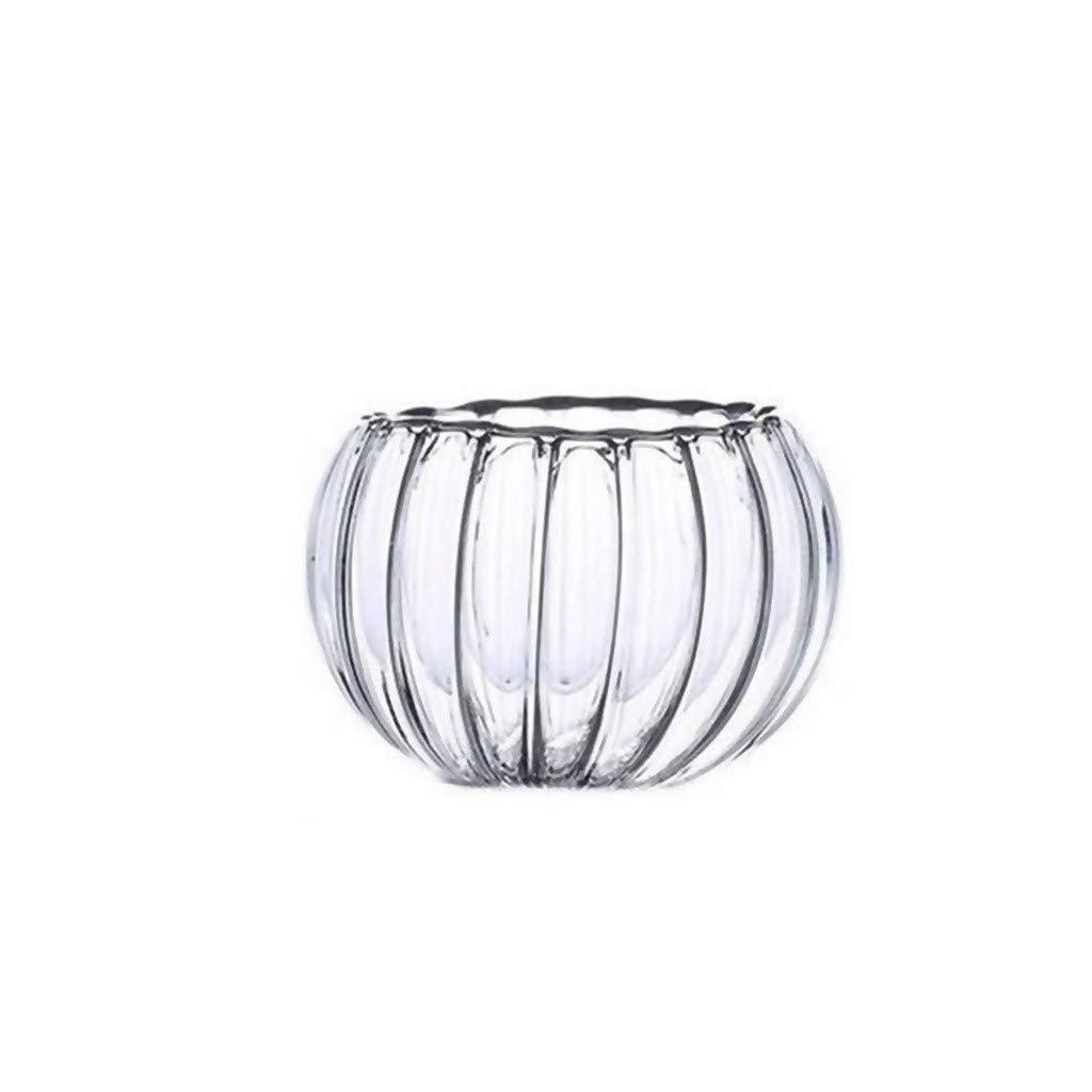 ♚Rendodon♚ Wine Glass, Water Cup, High Temperature Tea Set Pumpkin Cup, Heat-Resistant Glass Tea Set Double Pumpkin Cup (Capacity: 200ml)