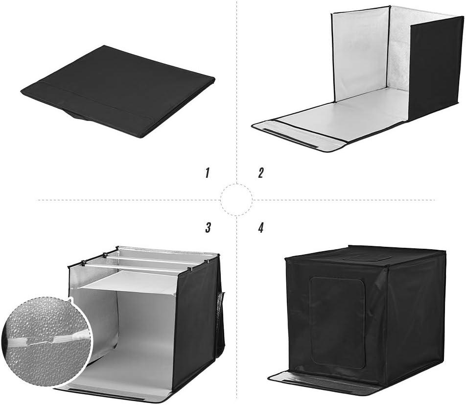 Andoer Photo Studio Shooting Tent kit 16x16x16 Inch Foldable Photo Box Adjustable Brightness Professional Table Top Photography Light Box with 84pcs LED Lights 5500K 5 Color Backdrops