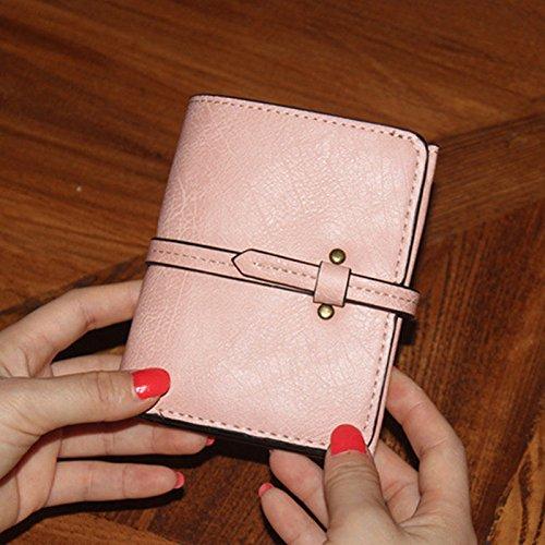 Espeedy Moda Mujeres Mini Purse Cuero De Color Sólido Damas Niñas Cartera De Vintage Bolso De Embrague Bolso Pequeño Bolsas rosa