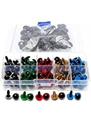 1Box(100PCS) Assorted Color Plastic Safety Screw Eyes with Washer-DIY Craft Sewing Crafting Buttons Teddy Bear Toy Puppet Making Accessories And DIY Crafts(5 Colors)