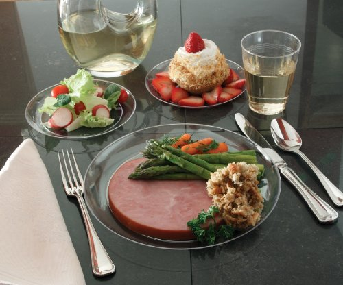 (EMI Yoshi Koyal Clear Ware Dinner Plates, 9-Inch, Clear, Set of 250)