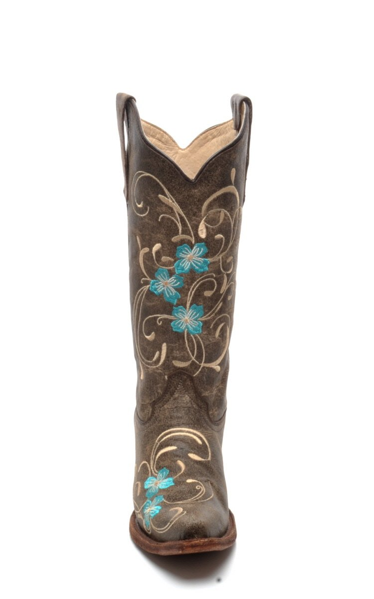Corral Circle G Boot Women's 12-inch Distressed Leather Floral Embroidery Snip Toe Brown/Turquoise Western Boot B01N0DP9ZD 7.5 B(M) US|Brown