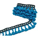 GarfyeTong Tong Embroidered Tassels Fringe Trim Boho Knitting Yarn Lace Ribbon 3 Yard Blue for Sewing Crafts Applique Design Decorating Embroidery Clothing Accessories Bedding Curtains Paper Crafts