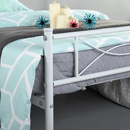 Bed Frame Twin Size, Yanni Easy Set-up Premium Metal Platform Mattress Foundation / Box Spring Replacement with Headboard and Footboard, Under-bed Storage, Enhanced Sturdy Slats(White)