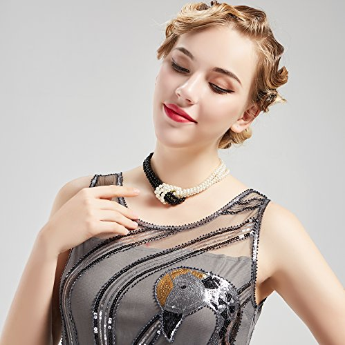 BABEYOND 1920s Imitation Pearls Necklace Gatsby Knot Pearl Necklace 20s Pearls 1920s Flapper Accessories Two-tone Stitching Style (Black and White) by BABEYOND (Image #5)