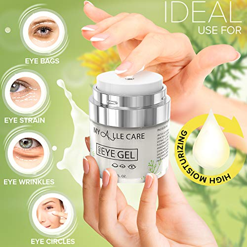 51jNlUhVpVL - Eye Gel with Hyaluronic Acid, Reduce Dark Circles, Puffiness and Eye Bags. Anti Wrinkle Under Eye Treatment, Hydrating Gel with Collagen, Aloe and Vitamin E, Anti Aging Cream for Men & Women