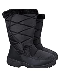 Mountain Warehouse Ice Women's Snow Boots with Fur - Durable Water Repellent, Snow Proof Fabric with Sherpa Lining, Faux Fur Trimming & Deep Lugs